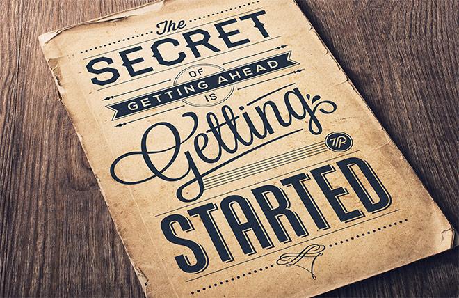 Inspirasi desain tipografi terbaik dan terbaru - Secret Of Getting Ahead by Tom Ritskes