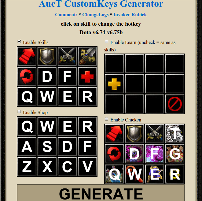 AucT Online CustomKeys Generator | Lancraft