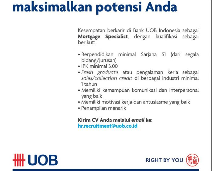Lowongan Kerja PT Bank UOB Indonesia Maret 2017