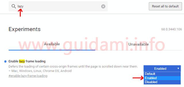 Pagina chrome flags di Google Chrome su esperimento Enable lazy frame e image loading
