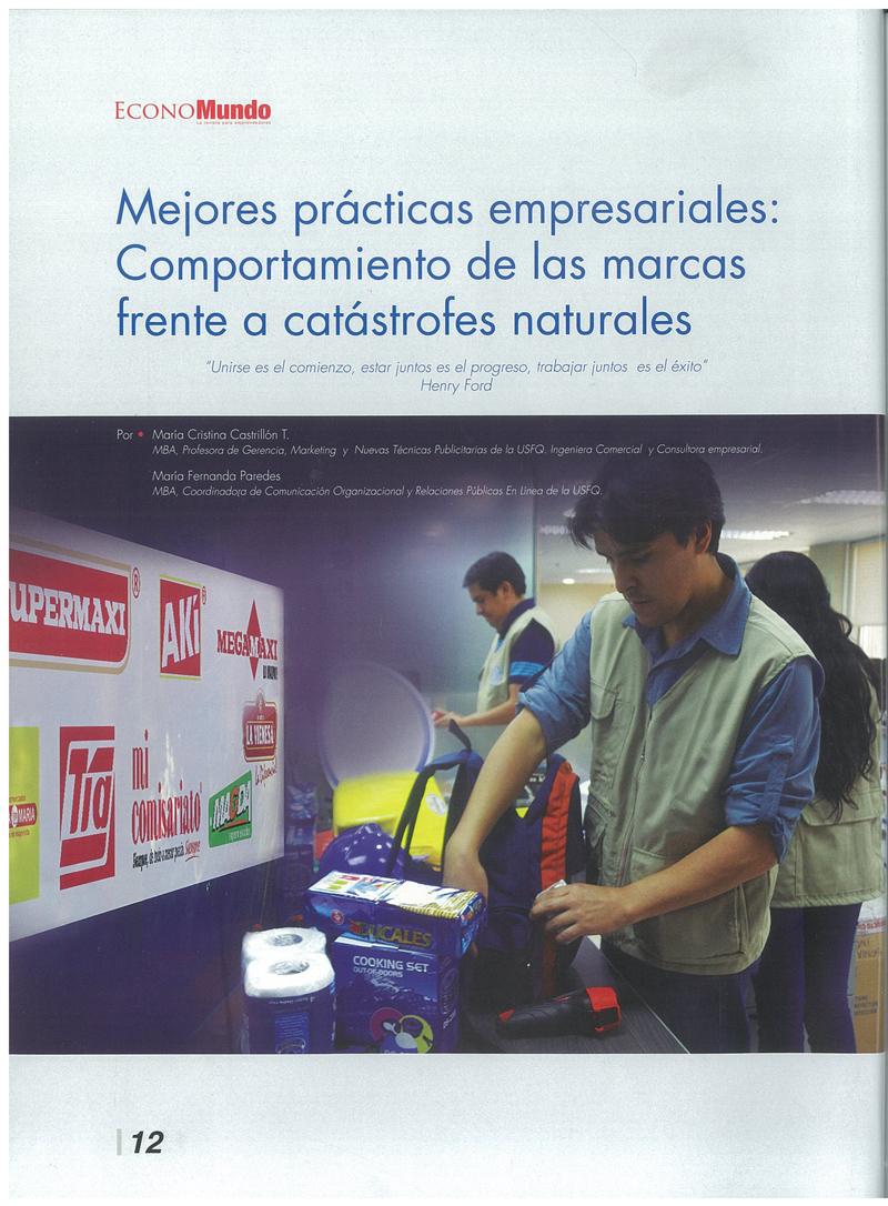 Mejores prácticas empresariales: Comportamiento de las marcas frente a catástrofes naturales
