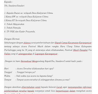 contoh surat pemberitahuan kegiatan resmi