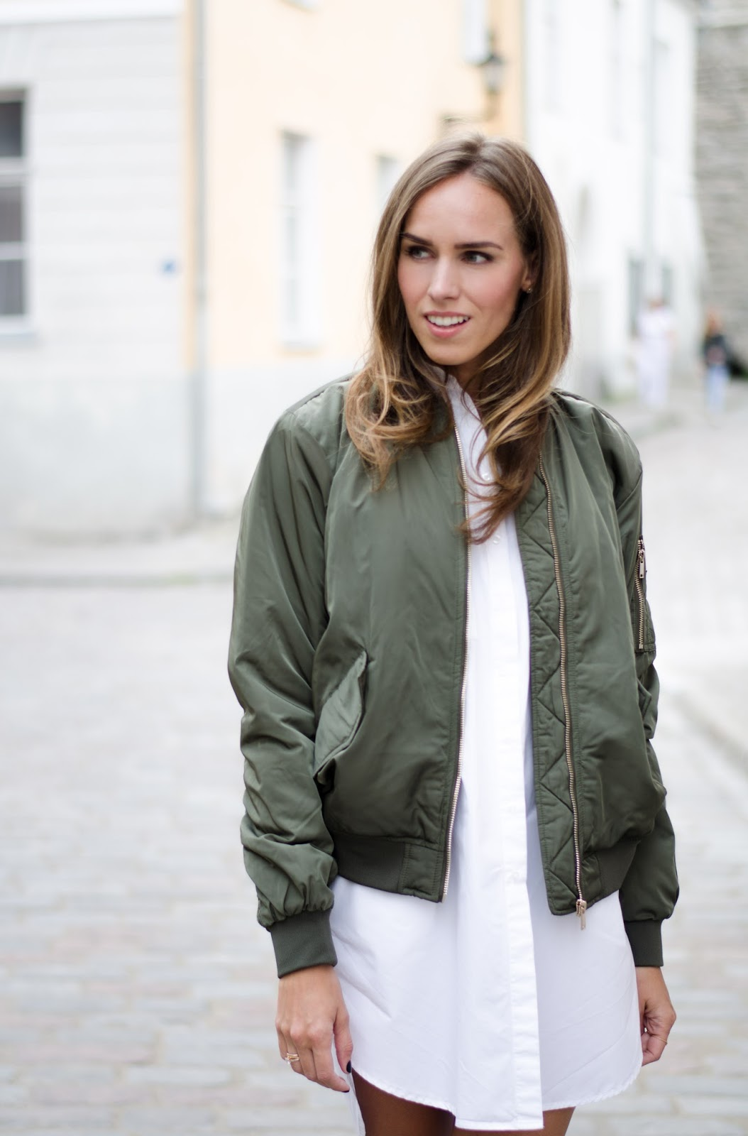 kristjaana mere green bomber jacket white shirt dress outfit
