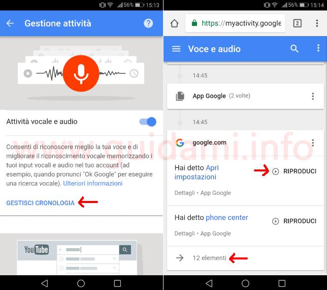 Cronologia Attività vocale e audio dell'account Google
