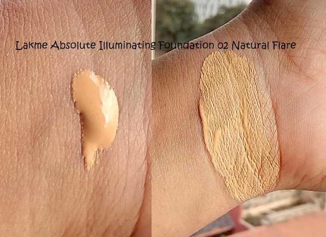 All swatches of Lakme Absolute Illuminating Foundation