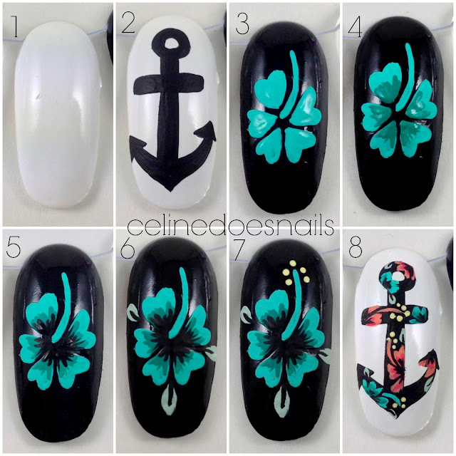 Another Flower Nail Tutorial: Nails By Celine: (Another!) Anchor Tutorial