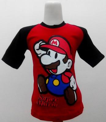 Kaos Raglan Anak Karakter Super Mario 1 Merah