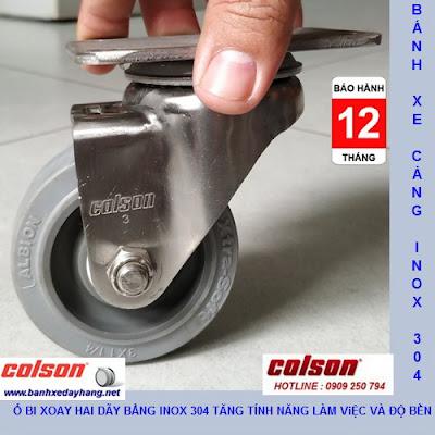 Bánh xe cao su chuyển hướng càng inox 304 Colson 3inch | 2-3356SS-444 www.banhxepu.net