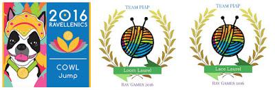 "3 virtual medals and laurels as indicated by graphic images: Event medal - cowl jump - has an image of Bob with the words ""2016 Ravellenics Cowl Jump""; Two Laurels have the words ""Team PIAP, Ravellenics 2016"" and their laurel titles - Loom Laurel, Lace Laurel - together with their logos of a yarnball with crossed needles bordered by a laurel wreath."