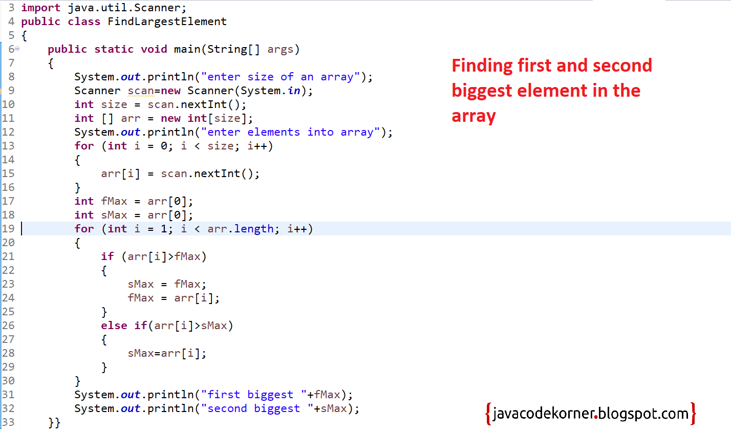 Java Program to Find First and Second Highest Numbers in