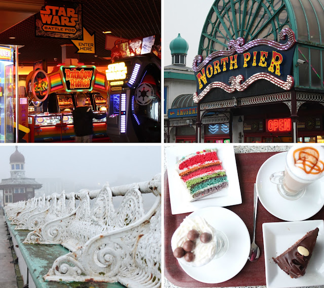 Blackpool Piers, collage showing arcades, north pier entrance, old fashioned seating along pier, coffee and rainbow cake