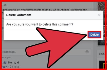 how to delete facebook comments on android