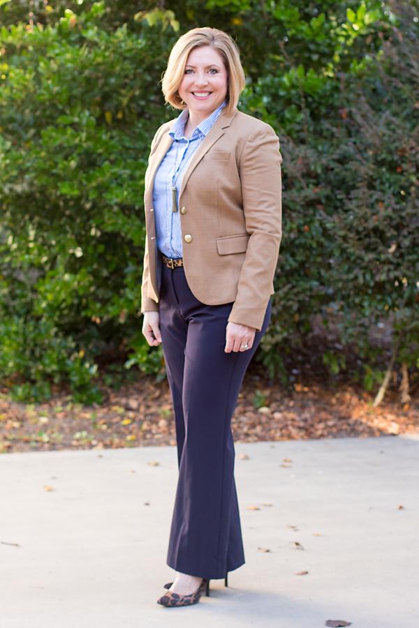 Camel blazer outfit, fall work wear, leopard print