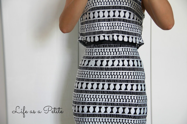 Monochrome Black and White Double Layered Cut Out Dress - Petite Outfit Idea - Life as a Petite (lifeasapetite)