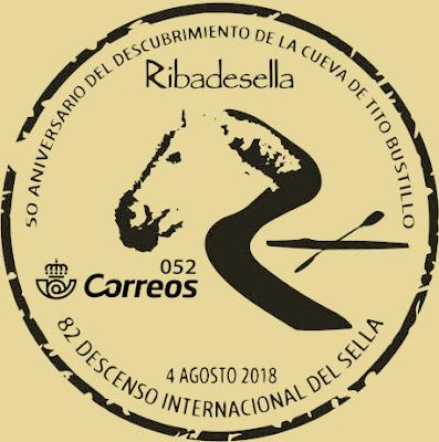 Matasellos Piraguas 2018 y 50 aniversario descubrimiento cueva Tito Bustillo