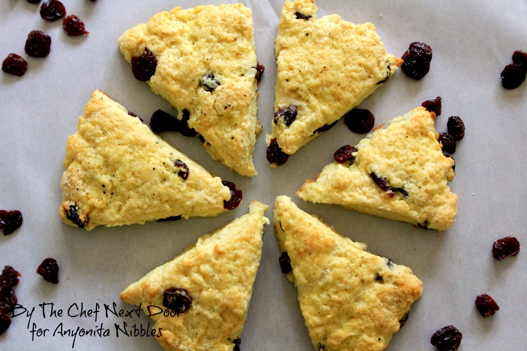 Overhead of tart cherry scones from Anyonita-nibbles.co.uk