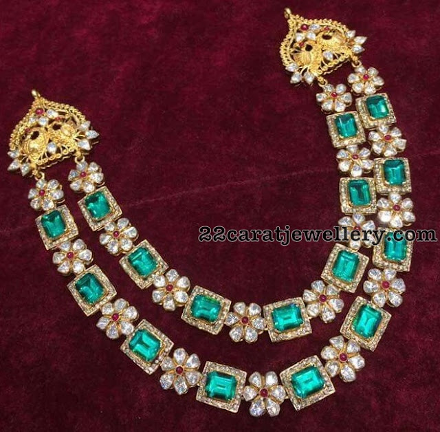 Two Layer Unique Diamond Emerald Set