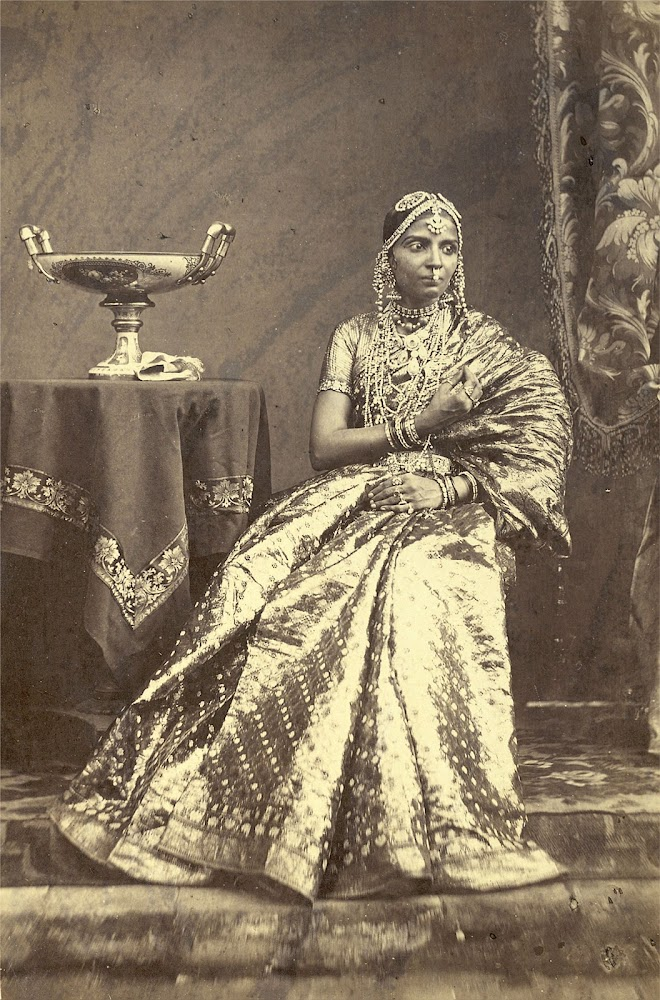 Portrait of a Seated Girl Wearing Jewellery, from Madras in Tamil Nadu - 1872