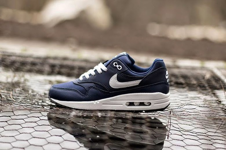19deab639e Here's a look at the newly-released Nike Air Max 1 GS Midnight Navy/Legend  Blue. The GS sneaker sports an upper constructed of blue leather, and  matching ...