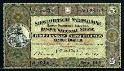 Switzerland currency 5 Swiss Francs