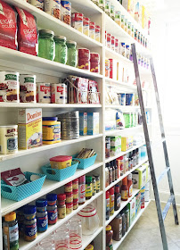 Wall of pantry shelves