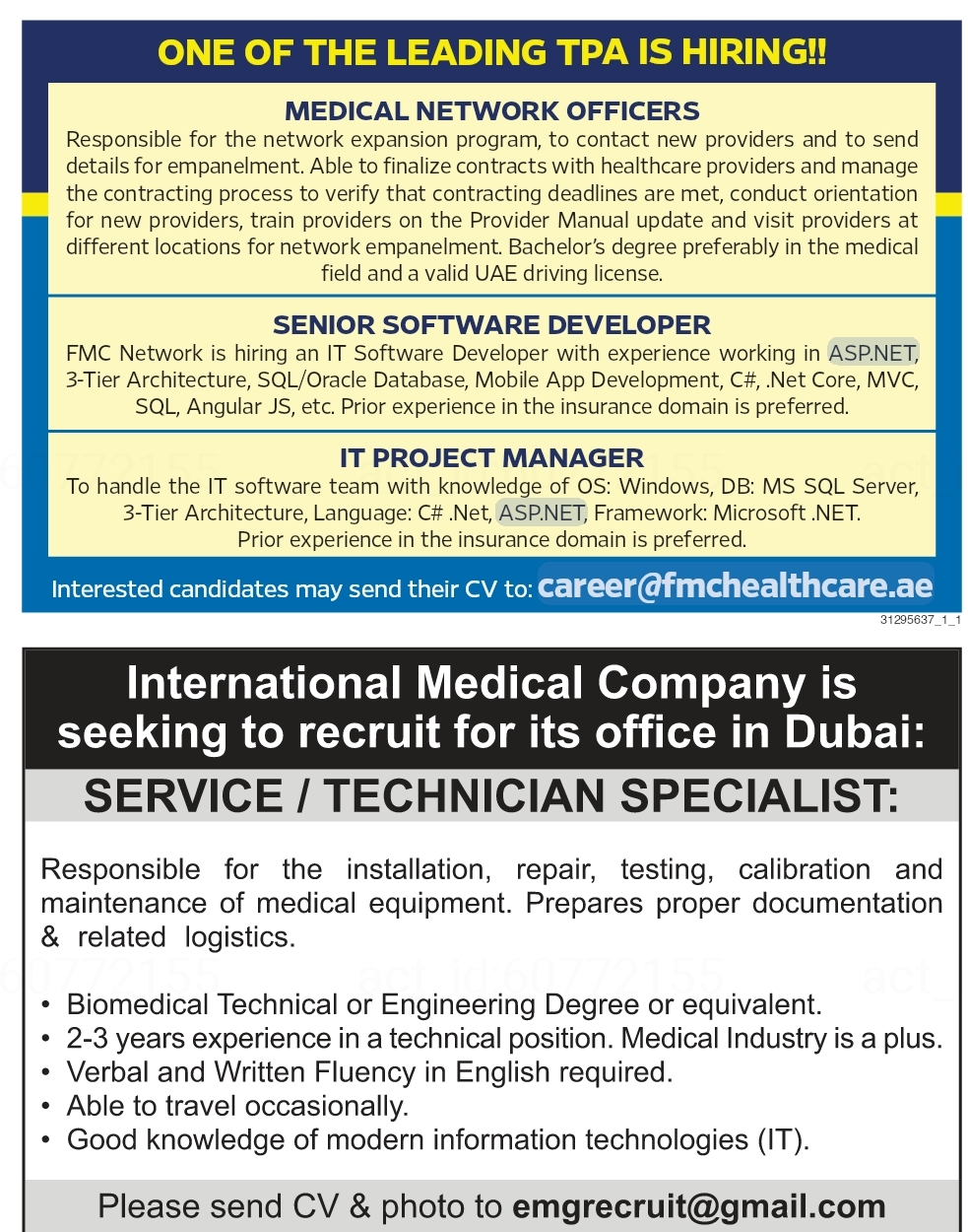 One of The Leading TPA is Hiring for UAE Local Hiring JOBS