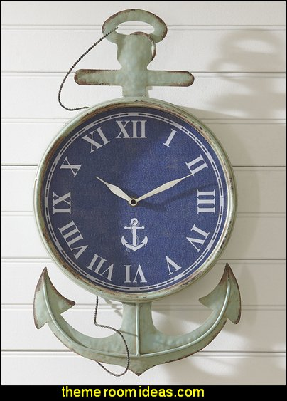 Nautical Time Wall Clock nautical bedroom ideas - decorating nautical style bedrooms - nautical decor - sailing ship theme - coastal seaside beach theme - boat beds - beach house decorating - Travelers and seafarers - nautical bedding - nautical bedroom furniture
