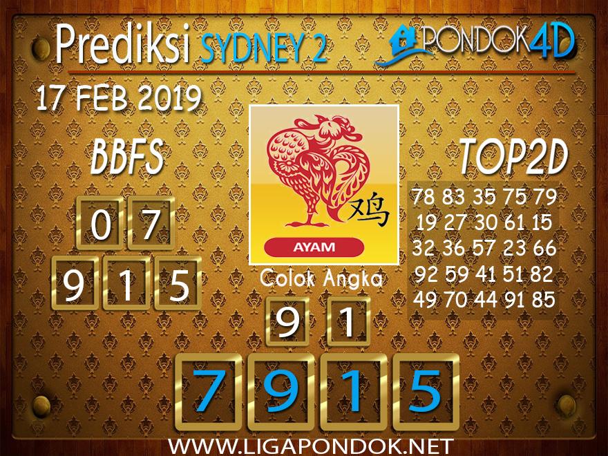 Prediksi Togel SYDNEY2 PONDOK4D 16 FEBRUARI 2019