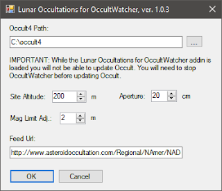 Lunar Occ add-in dialog box completed
