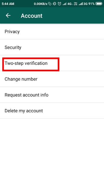 How to enable two step verification on whatsapp?
