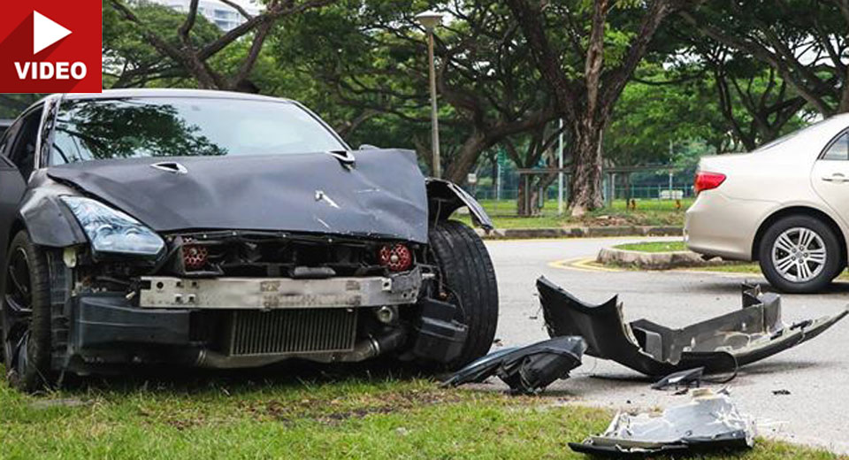 18 year old crashes nissan gt r into a corolla in singapore. Black Bedroom Furniture Sets. Home Design Ideas