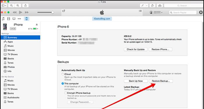 itunes iphone reboot fix