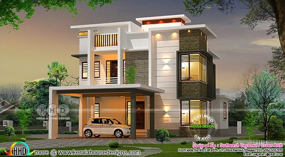 Front elevation design of a contemporary box model house