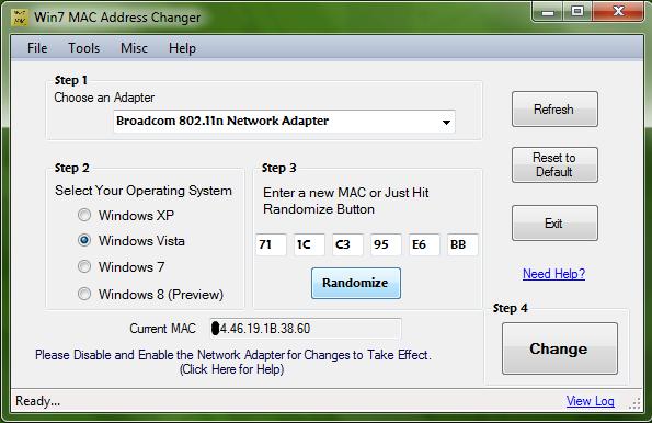 Win7 MAC Changer