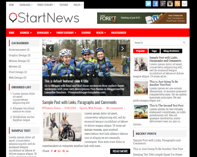 StartNews Blogger Template