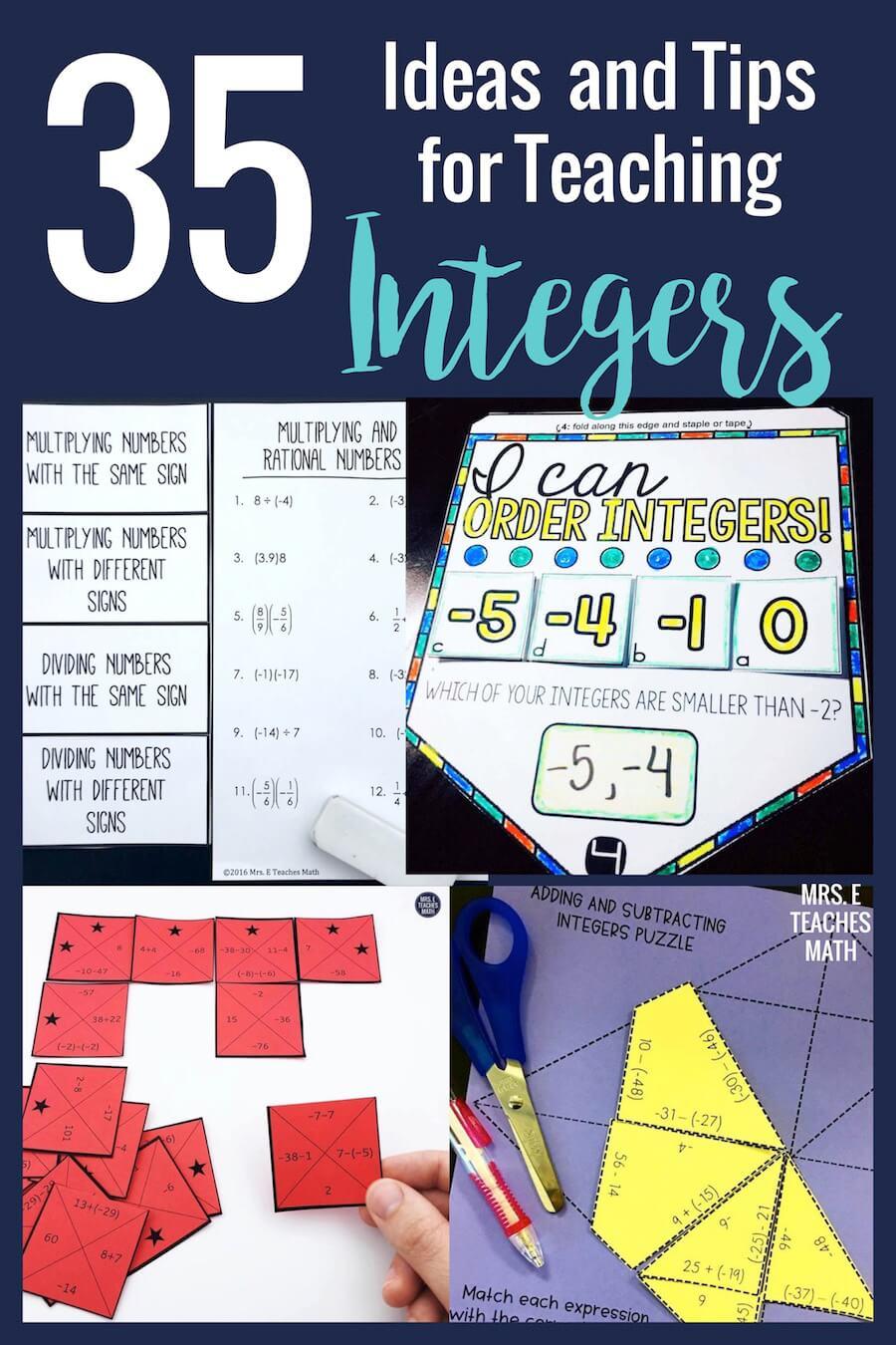 20+ Ideas and Tips for Teaching Integers   Mrs. E Teaches Math