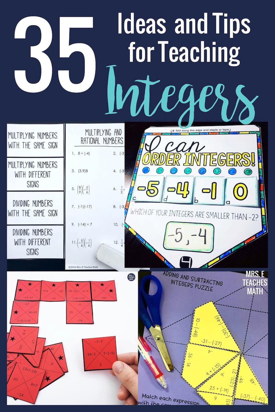 35+ Ideas and Tips for Teaching Integers   Mrs. E Teaches Math [ 1350 x 900 Pixel ]
