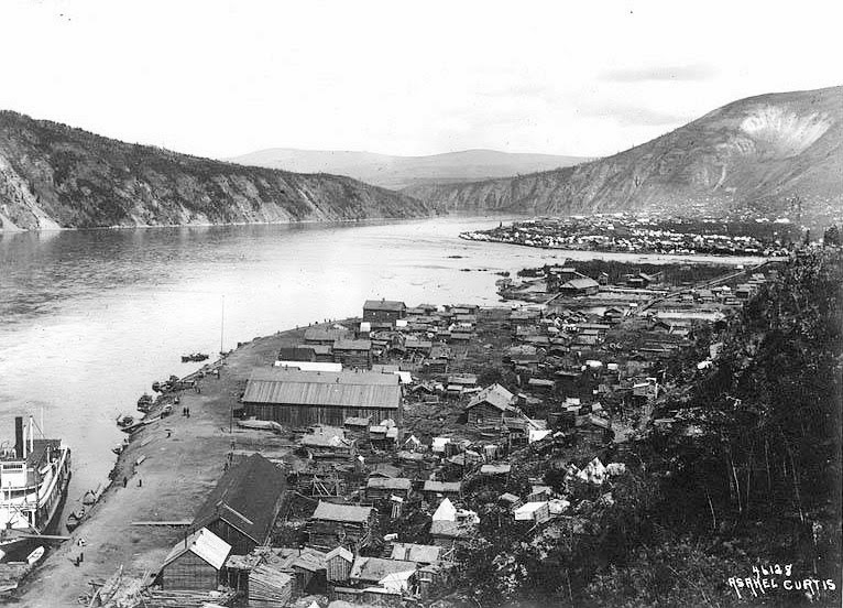 Picture of Throndike Wech'in fishing village, Dawson City, and Moosehide--all hugging the east side of the Yukon River