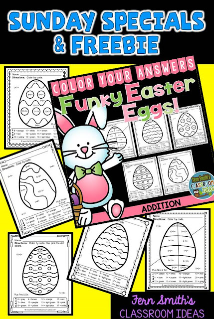 Fern Smith's Classroom Ideas Sunday Special and Freebie: Color Your Answers Addition and Subtraction Printables at TeacherspayTeachers for Easter and St. Patrick's Day in Your Classroom!