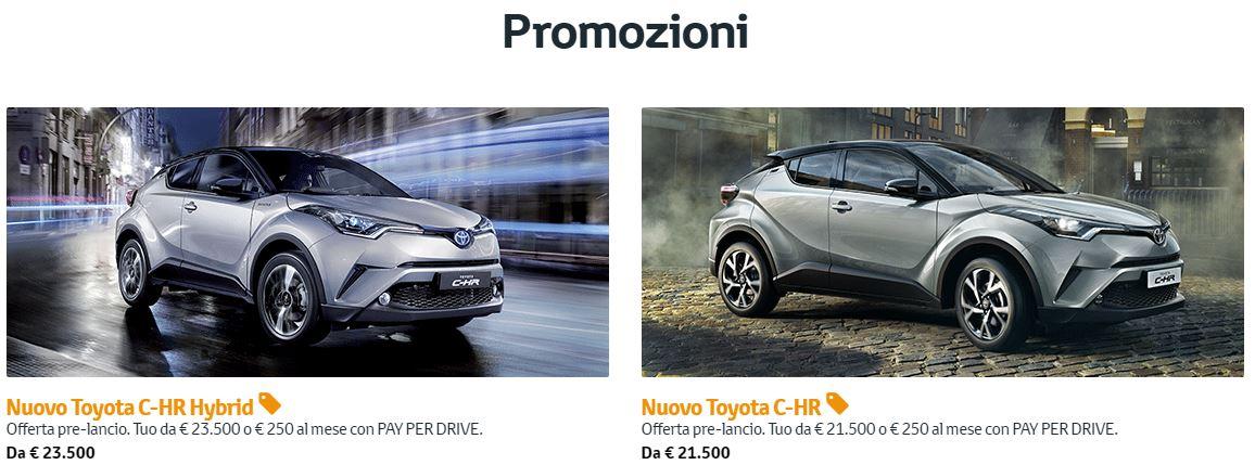 Toyota C-HR in offerta con prezzi da 21.500€ nella promozione pre-lancio