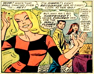 Amazing Spider-Man #46, John Romita, Gwen dances as peter parker and mary jane watson look on