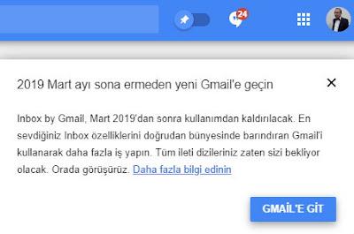 Google, servisin 2 Nisan itibariyle kapatılacağını, Inbox by Gmail kullanıcılarının bu tarihe kadar Gmail kullanmaya başlamaları gerektiğini duyurdu.
