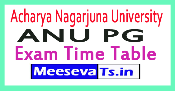 Acharya Nagarjuna University ANU PG Exam Time Table 2017