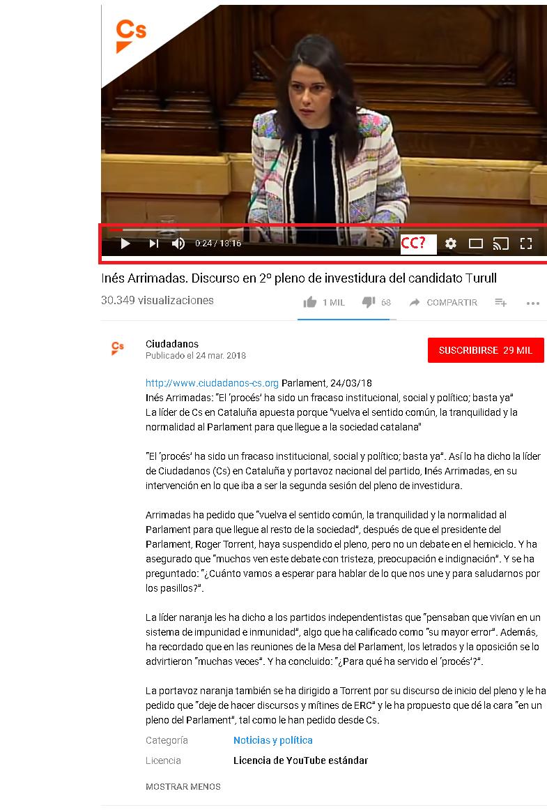 Vidoe en YouTube de Ines Arrimadas en el parlament