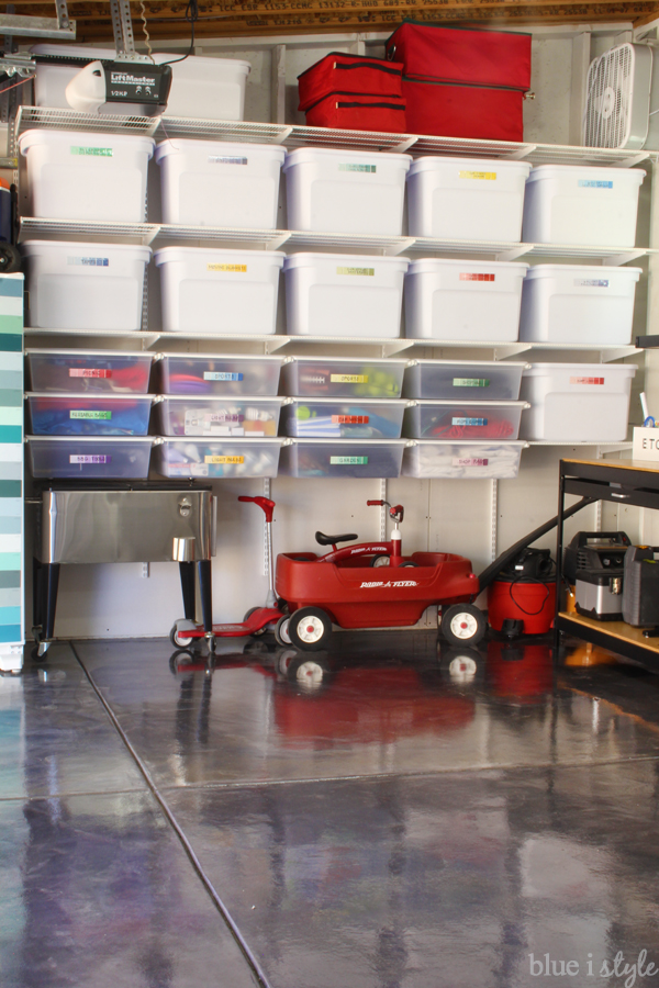 Garage organization tip hanging shelves hanging drawers