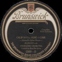 Image of 1924 Brunswick label, 'California, Here I Come,' by Al Jolson.