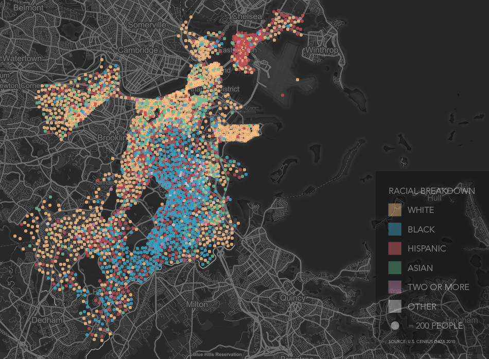 The racial distribution throughout the neighborhoods of Boston