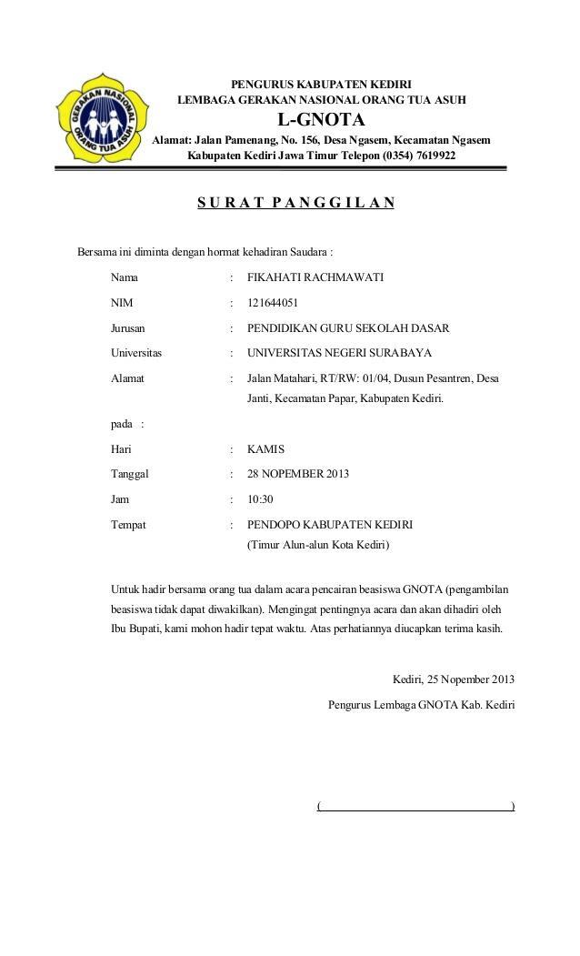 contoh surat izin kuliah dari kantor