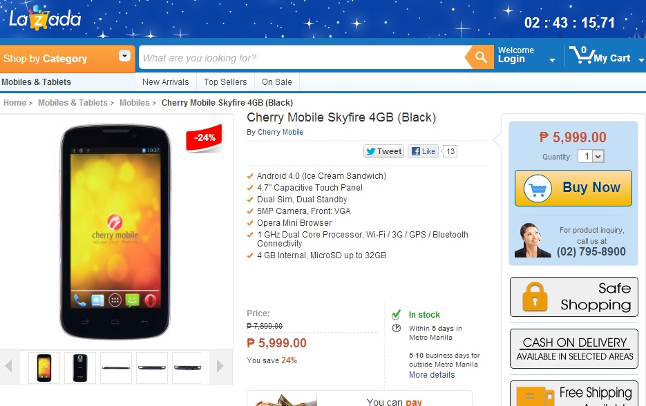 Cherry Mobile Skyfire at Lazada Philippines