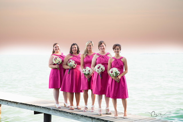 bridesmaids on water new baltimore waterfront wedding